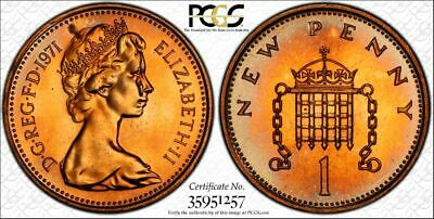1971 Great Britain 1 New Penny Pcgs Pr65Rd Toned Proof Coin In High Grade