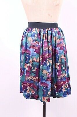 Vintage Retro Pinny Skirt Gathered Elasticated Waist Size S 8 10