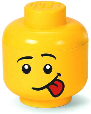 LEGO Minifigure Head Storage Container Small Male Silly Face Sticking Out Tongue
