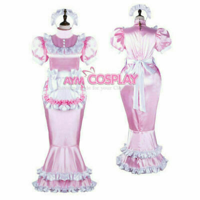 lockable Sissy Maid Satin dress Fish Tail unisex CD/TV Tailor-made
