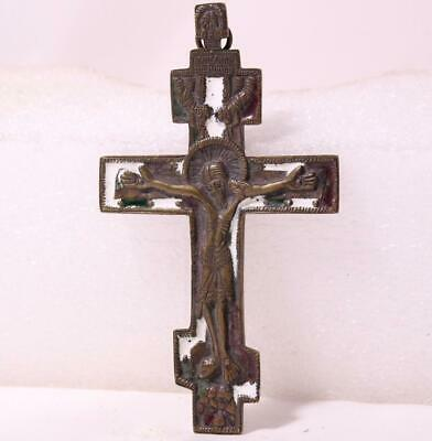 Antique Russian Orthodox Bronze Cross/Cruisifix Traveling Icon Enamel c.1800s #2
