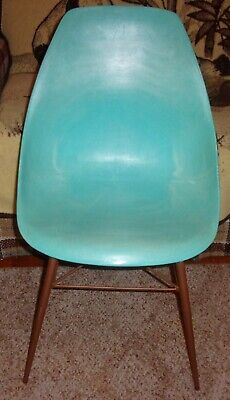 RETRO MCM Molded Plastic Shell Chair Teal Marble Swirl Metal Legs Eames Style