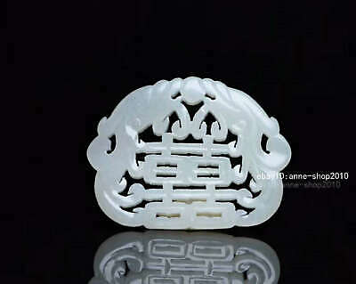 6.4cm collect China natural HeTian Jade Hand carved Animal Dragon Pendant AWSB