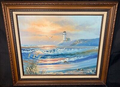 Vintage H. Gailey OIL ON CANVAS PAINTING Seascape Lighthouse Nautical 20x16