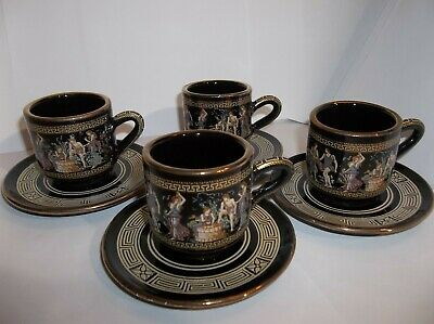 Vintage Black Expresso tea cup set from ADIS Greece Hand made 24k Gold Accents