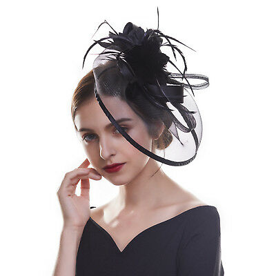 Ladies Mesh Flower Feather Fascinators Mini Hats Veil Wedding Party Headpieces