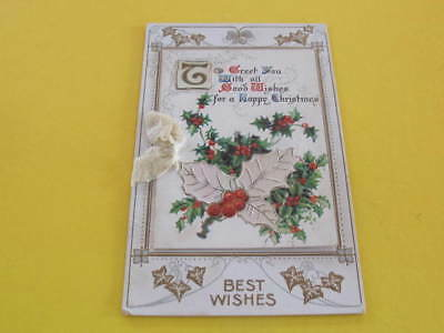Victorian Holly Christmas Greeting Card