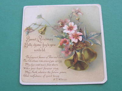 1891 Victorian Christmas Birthday Greeting Card Verse by A C Wilkinson