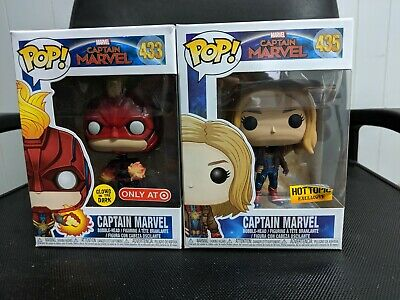 Funko Pop! Marvel Captain Marvel Hot Topic Excl. #435 + GITD Target #433 Lot