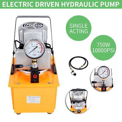 10000PSI Electric Driven Hydraulic Pump Single Acting Manual Valve 750W 220V