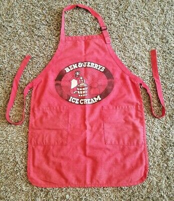 Vintage Early 90s Ben & Jerry's Ice Cream Red Grapic Apron 2 Pockets Chef Logo