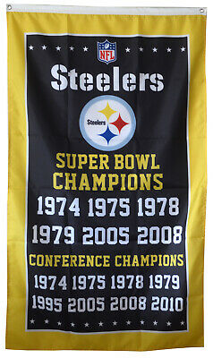 Pittsburgh Steelers 6x Super Bowl NFL Championship Flag 3x5 ft Sports Banner