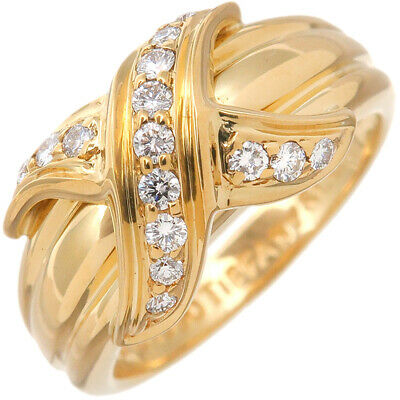Authentic Tiffany&Co. Signature Diamond Ring K18 Yellow Gold US5 EU49.5 Used F/S