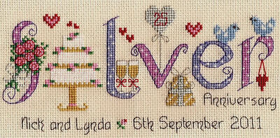 Nia Silver Wedding Anniversary Word Sampler Counted Cross Stitch Kit