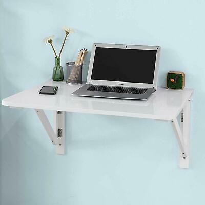 Wall Mounted Computer Desk Floating  Table Space Saving Storage Work Shelf white