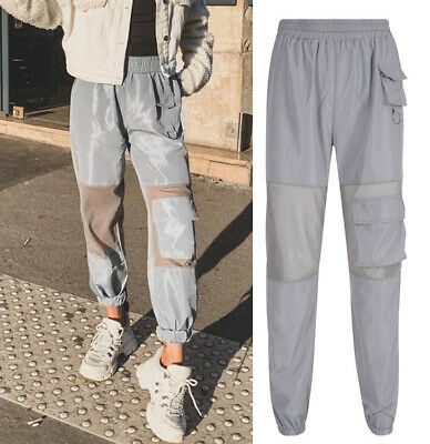 Women Joggers Trousers Active Gym Tracksuit Pants Cargo Net Knee Pad Pocket New
