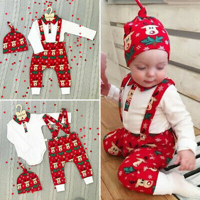 UK Newborn Baby Boy Girl My First Christmas Tops Romper Pants Hat Outfit Clothes