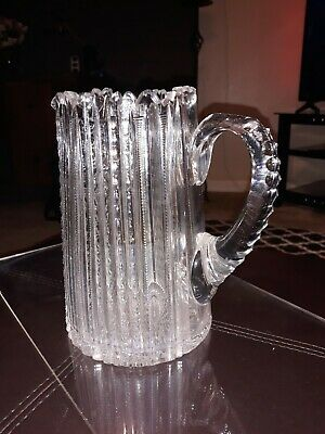 Vintage Heavy Cut Crystal Glass Carafe Pitcher Silver Plate Top Crystal Handle