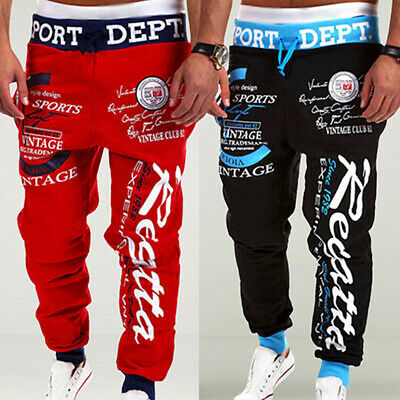 Men's Letter Printed Sport Sweat Pants Jogging Jogger Trousers Tracksuit Bottoms