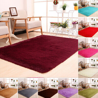 Large Shaggy Fluffy Rugs Anti-Skid Area Rug Dining Room Carpet Bedroom Floor Mat