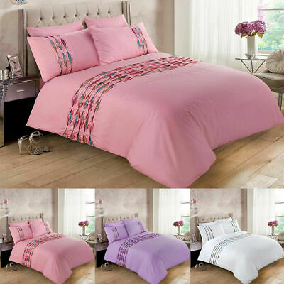 Pintuck Duvet Cover Set Luxury Bedding Double Super King Size Single Quilted New