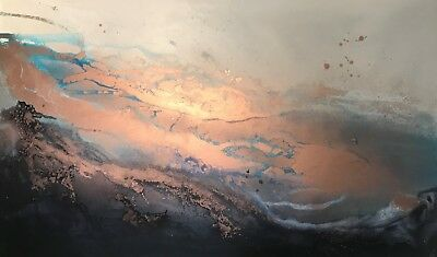 Original Art Navy/Copper Contemporary Abstract Large Canvas - By Kerry Bowler -