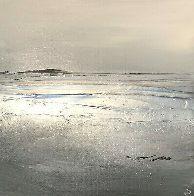 Abstract seascape canvas painting! Stunning Greys & silver Textured canvas art!