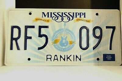 """Mississippi License Plate """"Birthplace Of America's Music"""" Rf5 097"""