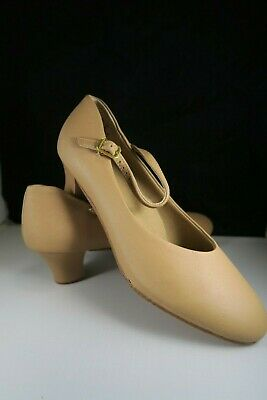 NEW Leather Professional Chorus Dance Shoes Buckle strap Low heel Beige