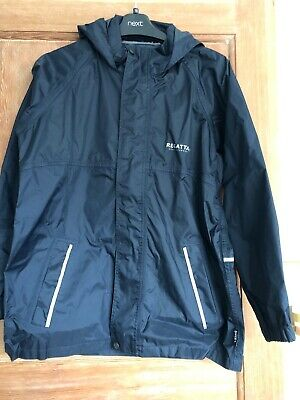 Navy Regatta waterproof jacket with hood, 11-12 taped seams, full zip