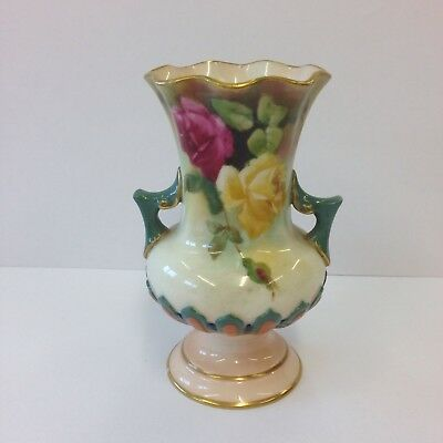Small Antique Royal Worcester Hadley Porcelain Vase Painted Roses 10cm