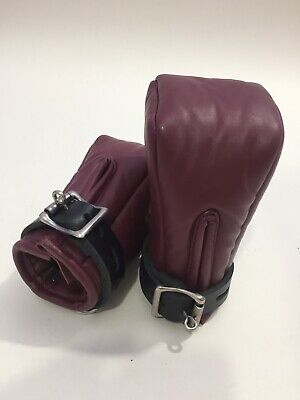 Genuine Soft Leather Bondage Mitts Padded Fists With Lockable Buckle Red