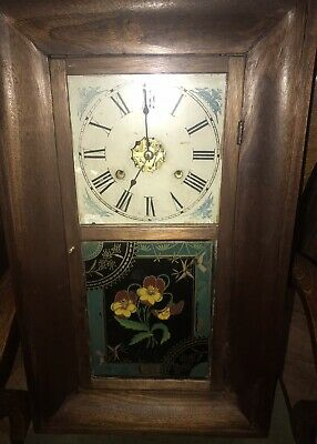 Pretty Large Antique American USA Wall Clock for parts restoration display
