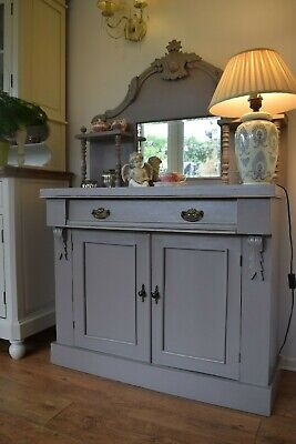 Victorian Mahogany Chiffonier Antique Side Board painted in Farrow and Ball Grey