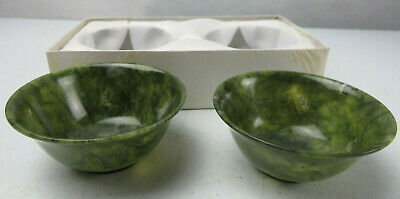 Dark Jade Vintage Chinese Footed Glass Finger Bowl Libation Cup 1 1/2 inch