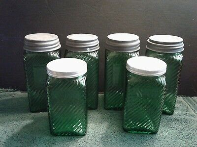 Vintage Owens Illinois Forest Green Ribbed Glass Hoosier Jars, Group of 6