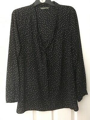 Mothercare BLOOMING MARVELLOUS Maternity Blouse Black & White Spotty Size 20