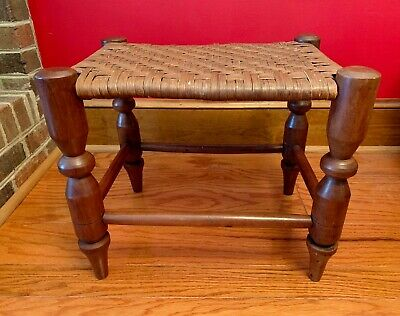 ANTIQUE AMERICAN SHAKER 1800's CHERRY WOVEN SPLINT SEAT STOOL BENCH  FOOTSTOOL
