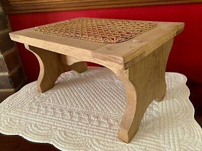 "HANDMADE OAK WOOD CHILD'S STOOL FOOTSTOOL with HAND CANED TOP 12"" x 9"" x 6.75"""