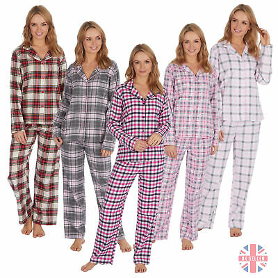 Ladies Womens Checked Pyjama PJ Set Flannel Classic 100% Brushed Cotton Buttons