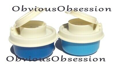 Tupperware Smidgets Salt and Pepper Shakers Set Mini Tiny Bowls Blue White New