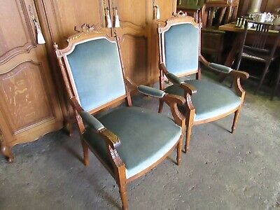 Very pretty pair of French Napoleon 3rd antique armchairs,fireside,boudoir