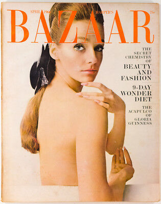 GLORIA GUINNESS Beauty and Fashion issue US Harpers Bazaar April 1966 Rare VTG