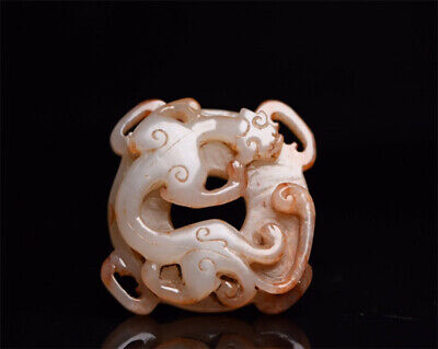 "2.13"" Chinese 100%natural Hetian Nephrite jade Hand-carved Dragon Pendant"