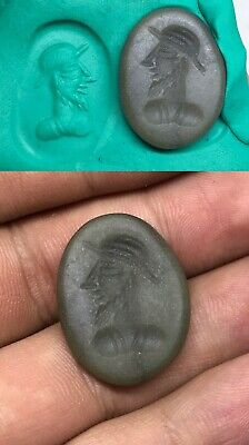 Old Sassanian Jade Stone Roman King Intaglio Signed Stamp