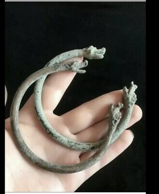 Very old antique snakes head bronze pair bangles