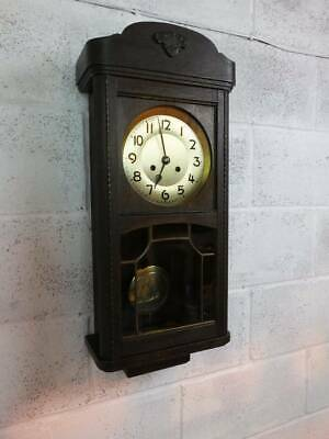 1920's OAK CASED WALL HANGING CLOCK, WIND, PENDULUM & KEY, CHIMES 1/2 HOURLY