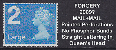 2009? Machin 2nd Class Large FORGERY MAIL+MAIL Used Stamp **EXTREMELY RARE**