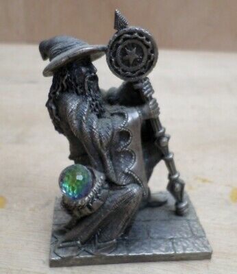 The Magic Staff Dragon Crystal Wizard Pewter Figure Tudor Mint 3142 Myth + Magic