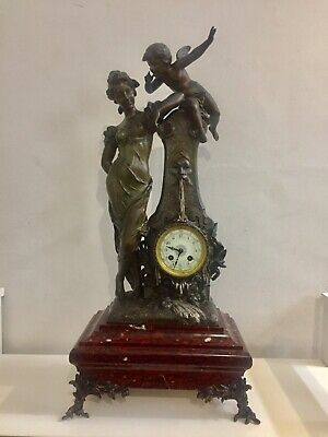 Antique Huge Marble Based French Clock By Japy. C1870